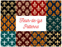 Fleur-de-lys royal french lily seamless patterns Royalty Free Stock Images