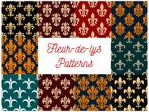 Fleur-de-lys royal french lily seamless patterns royalty free illustration