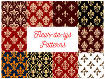 Fleur-de-lys royal lily seamless patterns set. Vector french fleur-de-lis royal heraldic flower decorative luxury elements for interior decoration background royalty free illustration