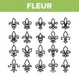 Fleur De Lys, sistema linear de los iconos del vector de los derechos ilustración del vector