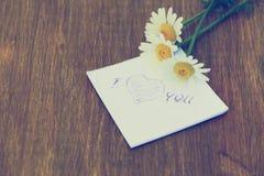 Fleur de marguerite et morceau de papier avec le texte Images stock