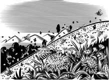 Fleur de montagne de pelouse, abeilles de travailleur illustration libre de droits