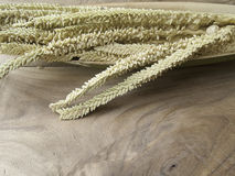 Fleur de noix de coco sur le vieux backgound en bois de table Image stock