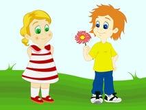 Fleur de offre de garçon à sa amie Image libre de droits