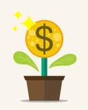 Fleur de pièce de monnaie avec la conception plate Photographie stock