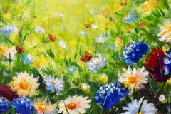 Fleur de plan rapproché de peinture à l'huile Grand macro de plan rapproché de fleurs sur la toile Impressionisme moderne Illustr photo libre de droits