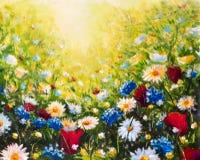 Fleur de plan rapproché de peinture à l'huile Grand macro de plan rapproché de fleurs sur la toile Impressionisme moderne Illustr image stock