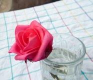 Fleur de rose de rouge dessus en verre Images libres de droits