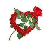 Fleur de rose de rouge et coeur de scintillement Photos libres de droits