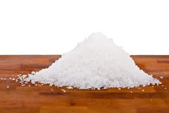 Fleur de sel, white sea salt crystals Stock Photo
