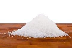 Fleur DE sel, witte overzeese zoute kristallen Stock Foto