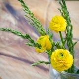 Fleur de source Fleur de ressort de bouquet en verre sur un fond en bois de table Carte avec des fleurs de source Image libre de droits