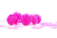 Fleur de tissu de rose de rose et petit cerf sur le fond blanc pour V Images libres de droits