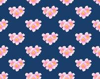 Fleur de trompette rose sans couture sur le fond de bleu d'indigo Illustration de vecteur illustration stock