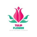 Fleur de tulipe - dirigez l'illustration de concept de calibre de logo dans le style plat Signe créatif de nature abstraite de be Photo libre de droits