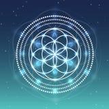 Fleur de vecteur de symbole de la vie sur le ciel avec l'illustration d'étoiles Images stock