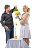 Fleur en expectative de l'eau de couples Photos stock