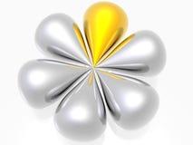 Fleur en métal avec la d'or Images stock