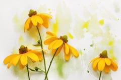 Fleur en peinture colorée photo stock