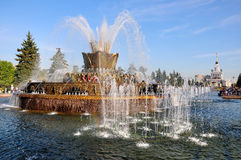 Fleur en pierre de fontaine à VVC à Moscou Images libres de droits