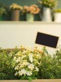 Fleur en plastique avec le conseil vide Photographie stock libre de droits