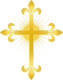 fleur eps złoty krzyż Zdjęcie Royalty Free