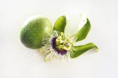 Fleur et fruit de passion d'isolement Photos stock