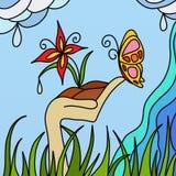 fleur et guindineau illustration stock