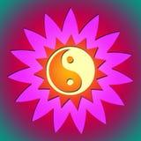 Fleur et soleil de Ying yang Photographie stock libre de droits