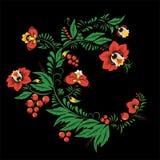 Fleur et vague abstraites courantes, bouquet de griffonnage oriental Image libre de droits
