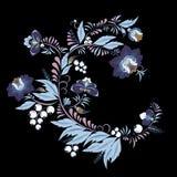 Fleur et vague abstraites courantes, bouquet de griffonnage oriental Images libres de droits