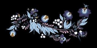 Fleur et vague abstraites courantes, bouquet de griffonnage oriental Photo libre de droits