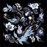 Fleur et vague abstraites courantes, bouquet de griffonnage oriental Photos libres de droits