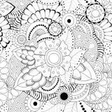 Fleur et vague monochromes abstraites sans couture courantes de griffonnage Photo stock