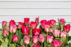 Fleur fraîche de rose de rose sur la plate-forme en bois blanche avec l'espace vide pour Image stock