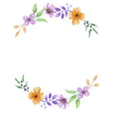 Fleur Garland Arch Floral Wreath peint à la main d'aquarelle illustration de vecteur
