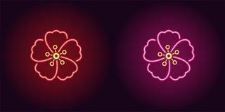 Fleur Hawaienne Au Neon Dans La Couleur Jaune Et Orange Illustration