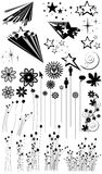 Fleur, herbe et silhouettes d'étoile photographie stock libre de droits