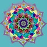 Fleur indienne de mandala de cercles dans la palette de couleurs en pastel, fond plat de turquoise, image de cru photographie stock