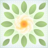 Fleur jaune abstraite avec les feuilles vertes. Photo stock