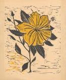 Fleur - jaune original de gravure sur bois Photographie stock