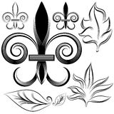 Fleur Leaf Engraving Set Stock Images
