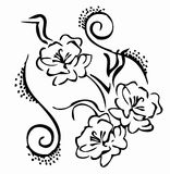 Fleur noire et blanche illustration libre de droits