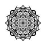 Fleur noire et blanche dans le style indien Image libre de droits