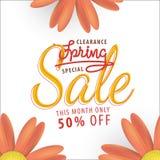 Fleur orange de vente de ressort 50 pour cent outre de conception de titre pour le bann Image libre de droits