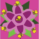 Fleur pourpre avec des abeilles Images libres de droits