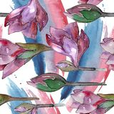 Fleur pourpre d'amaryllis d'aquarelle Fleur botanique florale Modèle sans couture de fond Illustration Stock