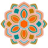 Fleur ronde ornementale colorée de griffonnage d'isolement sur le fond blanc mandala illustration libre de droits