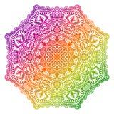 Fleur ronde ornementale colorée de griffonnage d'isolement sur le fond blanc Mandala d'ensemble illustration de vecteur