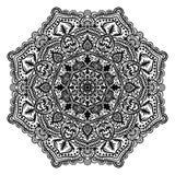 Fleur ronde ornementale de griffonnage d'isolement sur le fond blanc Mandala noir d'ensemble illustration stock